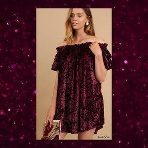 5⭐️RATED🆕 Crushed Velvet Off Shoulder Dress